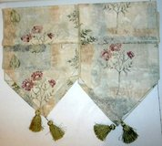 Set of 2 Linen Floral Table Runners w/ Green Tassels in Orland Park, Illinois