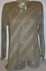 New! Sz PL Dana Buchman Beige V-Neck Asymmetric Sweater in Orland Park, Illinois