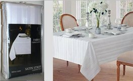 New! Royal Crest Satin Stripe White 60x84 Fabric Tablecloth in Naperville, Illinois