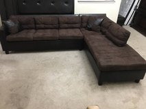 2pc Brown Leather Base Upholstered Sectional Sofa in Joliet, Illinois