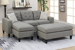 New! 2-Pcs Gray Mini Sectional with Ottoman FREE DELIVERY in Camp Pendleton, California