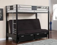 New!Twin/Futon Bunk Bed w Futon Mattress and Under Drawers. FREE DELIV in Camp Pendleton, California