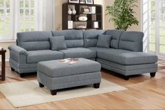 New! Grey Fabric Sectional w Ottoman FREE DELIVERY in Camp Pendleton, California