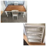 DIY 5pc Two Tone Dining Table set + 4 level Shelf-White & Brown in Westmont, Illinois