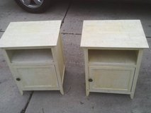 END TABLES ARE SOLD AS A SET ,ALL WOOD HAS A SHELF AND HAS A DOOR in Naperville, Illinois