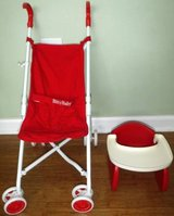 American Girl Doll Bitty Baby Stroller + Booster High Chair in Orland Park, Illinois