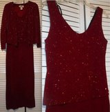 Sz 6 Ronnie Nicole Long Formal Burgundy Evening Dress w/Jacket in Orland Park, Illinois