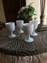 Reduced  4 Imperial  Shabby Chic Glass Milk Glass Goblets in Naperville, Illinois