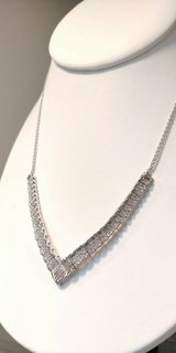 """steling silver """"v"""" shaped accented in cubic circonia necklace in Camp Lejeune, North Carolina"""