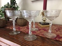 Reduced... Set of 8 Vintage Champaign / Dessert Stemmed Crystal Glasses in Naperville, Illinois