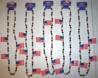 "New! FIVE Patriotic Flag / Bead 42"" Amscan Necklaces in Joliet, Illinois"