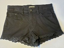 Forever 21 Black Jean Shorts size 25 * Lace Bottom Edge in Naperville, Illinois