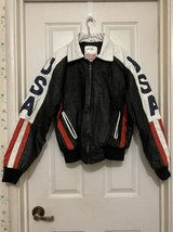 """1991 """"USA Flag"""" Leather Jacket by Michael Hoban """"WHEREMI"""" Label in Travis AFB, California"""