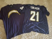 NFL Chargers foot ball jersey (new)#21 Tomlinson& Reebok NFL tee shirt in Camp Pendleton, California