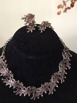 Vintage Reticulated Silver Leaf Choker Necklace and Clip Earrings $30 in Westmont, Illinois
