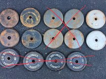 Standard one inch steel weight plates / Delivery Available in Yorkville, Illinois