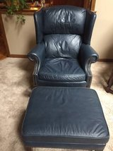 Leather High Back chair (2) and ottoman in Naperville, Illinois