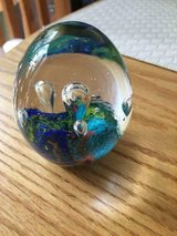 Solid Glass Colorful Egg-Shaped Paperweight in Quantico, Virginia