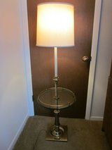 STIFFEL Antique Brass Floor Lamp Glass Table MCM MidCentury Modern VINTAGE EXCELLENT in Naperville, Illinois