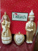 Vintage Boxed 'Bride & Groom' Wedding Glass Ornaments from Dillards! 3p  Bride, Groom, Heart in Bellaire, Texas
