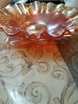 Vtg Beautiful Large Iridescent Cranberry & Amber Carnival Glass Bowl! in Bellaire, Texas
