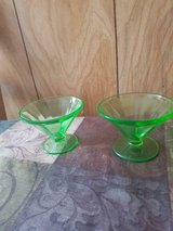 2 vintage lime green federal sherbert glassware!  signed f! in Bellaire, Texas