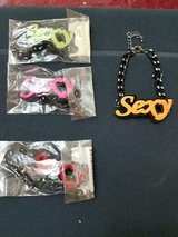 "New Mixed Lot of 4 Colorful ""SEXY"" Bracelets! Red, Yellow, Green, Pink! Unique in Bellaire, Texas"