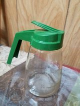 "Vintage Retro GEMCO Glass Syrup Dispenser w/ Plastic Green Lid & Handle 5"" tall in Bellaire, Texas"