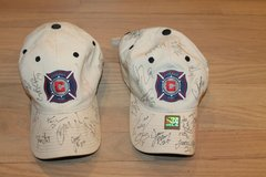 Autographed Chicago Fire Soccer Ball Caps, 2002 -2004 - 2 Available/Sold as Lot in Naperville, Illinois