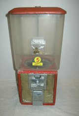 vintage parkway gumball/candy vending coin machine rectangular red 5 cent in Camp Lejeune, North Carolina