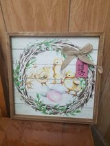 "Wooden Framed Picture Wall Hanging of Baby Chicks! Tag says: 'SPRING'  13"" x 13"" in Bellaire, Texas"