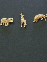 3 Pretty Clear Rhinestone Small Animal Brooches! Giraffe, Elephant, Tiger!  NICE in Bellaire, Texas