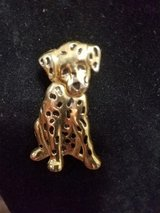 Anne Klein Gold-Tone Black Spotted Dog Brooch / Pin! Signed AK on Back! in Bellaire, Texas