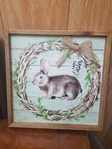 "Wooden Frame Rabbit Bunny Picture Wall Hanging! Tag says: 'Happy Easter'  13"" x13"" in Bellaire, Texas"