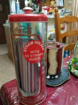 New Old Stock COCA COLA Tin Straw Dispenser! Includes 50 New Straws Sealed in Plastic! in Spring, Texas