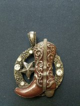 Pewter Western Cowboy Boot and Clear Rhinestones Necklace Pendant Without Chain! in Spring, Texas