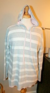 Tahari Gray/White Stripe Sweater Hoodie w/Pink Accents, Large in Naperville, Illinois