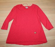 Coral Red Scoop Neck Tunic Sweater, 3/4 Sleeves, Cotton, Large in Naperville, Illinois