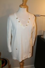 calvin klein white sweater knit, lace up front, sleeve zipper detail, large in Naperville, Illinois
