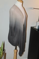 Lightweight Ombre Tan to Gray Short Sleeve High Low Cardigan, Medium in Naperville, Illinois