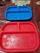 2 PAW PATROL Characters Blue & Red Plastic Snack Dinner Lunch Plate Trays! in Kingwood, Texas