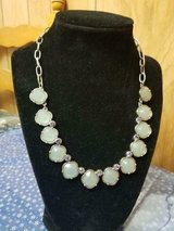 """LIA SOPHIA Light Green Statement Silver Tone Necklace! SIGNED   19"""" Long in Kingwood, Texas"""