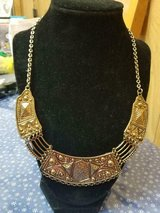 Vintage Gold and Silver Tones Statement Embedded Design Necklace! in Kingwood, Texas