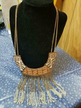 Vintage Multi Brown and Cream Color Necklace w/ Gold Tone Chain! in Spring, Texas
