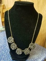"""Pretty NATASHA Signed Shiny Disc Shaped Faux Glittery Type Stones Necklace! 23"""" L in Spring, Texas"""
