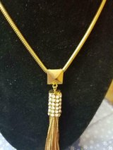 """Long Dressy Goldtone and Clear Crystal Necklace! Signed NY 20"""" Long in Spring, Texas"""