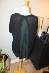 Simply Vera Vera Wang Black SS Textured & Sheer Drape High Low Blouse, Large in Naperville, Illinois
