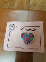 New LUCINDA Pottery Heart Brooch / Pin! Designed and Crafted by Lucinda Dulin Pittman in Bellaire, Texas