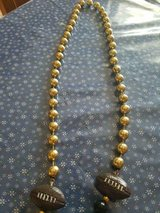 Long Handmade Black & Gold Beaded Necklace w/Footballs! in Bellaire, Texas