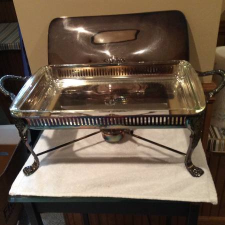 Silver Plate Chafing Dish Server W Lid Collectibles For Sale On Naperville Bookoo